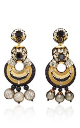 Naeem Khan Onyx And Metal Mesh Covered Pearl Chandelier Earrings Gold Black