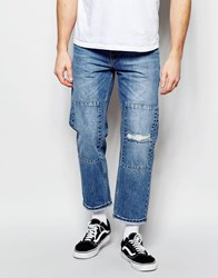 Asos Straight Jeans In Cropped Length With Patches Blue