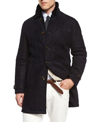 Brunello Cucinelli Button Down Shearling Fur Coat Navy