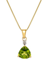 Macy's Peridot 1 1 3 Ct. T.W. And Diamond Accent Pendant Necklace In 14K Gold Green