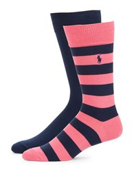 Polo Ralph Lauren 2 Pack Striped Socks Pink