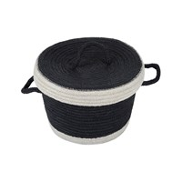 The Braided Rug Company Rope Braid Basket And Lid Black White Small