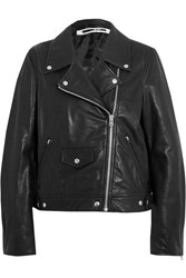 Mcq By Alexander Mcqueen Textured Leather Biker Jacket Black