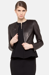 Akris 'Hasso' Leather Crop Jacket Black