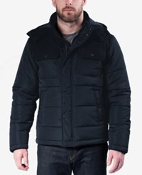 Hawke And Co. Outfitter Men's Quilted Mixed Media Puffer Jacket Hawke Navy