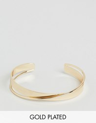 Ny Lon Nylon Cross Detail Gold Plated Cuff Bracelet Gold Plated