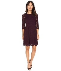 Vince Camuto Lace Raglan Lace Sleeve Fit And Flare Aubergine Women's Dress Purple