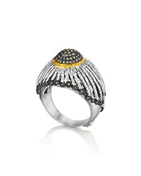 Spring Silver Ring With Gold Dome And Diamonds Sz 6 Coomi Silver Gold