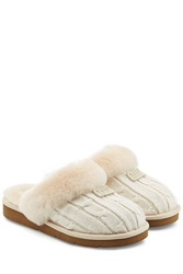 Ugg Australia Cozy Knit Slippers With Wool And Sheepskin White