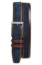 Men's Mezlan Suede Belt Dark Brown