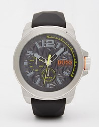 Boss Orange New York Textured Dial Watch With Silicone Strap Grey