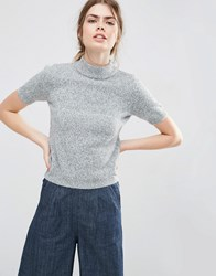 Asos Knitted Tee With High Neck Grey