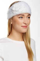 David And Young Fuzzy Flower Headwrap White