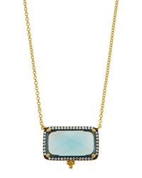 Freida Rothman Pave Aqua Crystal Geometric Pendant Necklace Women's