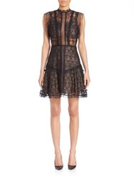 Alexis Embroidered Lace A Line Dress Black Flower Embroidery