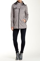 Steve Madden Faux Leather Trim Knitted Jacket Gray