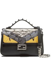 Fendi Double Baguette Micro Elaphe And Crocodile Paneled Leather Shoulder Bag Black