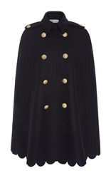 Red Valentino Scalloped Cape With Crest Buttons Navy