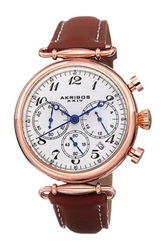 Akribos Xxiv Women's Chronograph Leather Strap Watch Brown