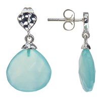 John Lewis Silver Plated Aqua Chalcedony Drop Stud Earrings Silver Blue