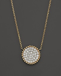 Bloomingdale's Diamond Pave Disk Pendant In 14K Yellow Gold .55 Ct. T.W. Yellow Gold White Diamonds