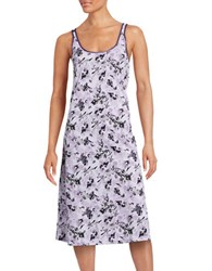 Lord And Taylor Printed Long Chemise Purple