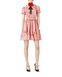 Gucci Cotton Muslin Short Sleeve Dress With Ruffles Rose