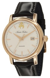 Brooks Brothers 'Core' Automatic Leather Strap Watch 42Mm Black White Rose Gold