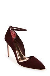 Ted Baker Women's London 'Vleyi' D'orsay Pointy Toe Pump Burgundy Suede