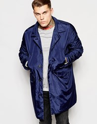Asos Hooded Trench Coat In Blue Black