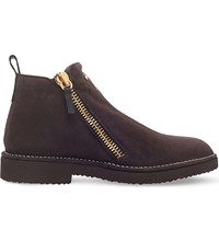 Giuseppe Zanotti Double Zip Suede Boots Brown