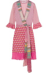 Diane Von Furstenberg Nieves Printed Silk Jersey And Chiffon Wrap Dress Baby Pink