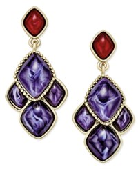 Charter Club Gold Tone Spiced Plum Drop Earrings Only At Macy's