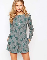 Love Playsuit In Paisley Print With Long Sleeves Multi