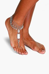 Boohoo Statement Multi Chain Anklet Silver