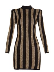 Balmain Striped Knit Mini Dress Black Gold