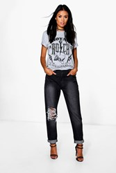 Boohoo High Rise Cheeky Rip Boyfriend Jeans Charcoal