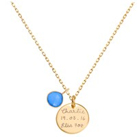 Merci Maman Personalised Gemstone Disc Pendant Necklace Gold Blue Chalcedony