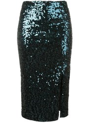 By Malene Birger Sequin Pencil Skirt Blue