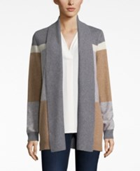 Charter Club Petite Cashmere Colorblocked Cardigan Only At Macy's Cc Heather Camel