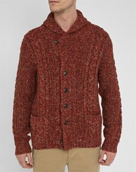 Denim And Supply Ralph Lauren Brick Marl Shawl Collar Wool Cardigan Burgundy