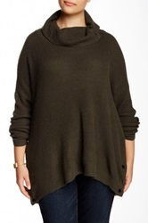 Love Token Buttoned Cowl Neck Sweater Plus Size Green