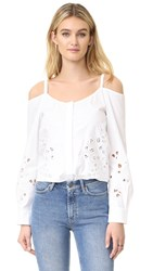 Suno Off Shoulder Button Shirt White