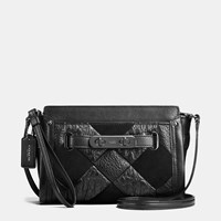 Coach Swagger Wristlet In Canyon Quilt Exotic Embossed Leather Dark Gunmetal Black