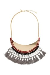 Topshop Facet Rhinestone And Tassel Collar Necklace Multi