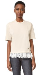 Dsquared Lace Peplum Tee Ivory