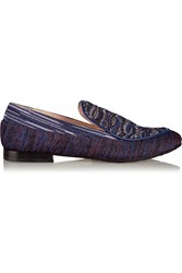 M Missoni Leather Trimmed Crochet Knit Loafers Purple