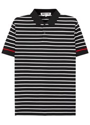 Mcq By Alexander Mcqueen Striped Pique Cotton Polo Shirt Black And White