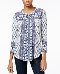 Lucky Brand Printed Button Front Top Natural Mu