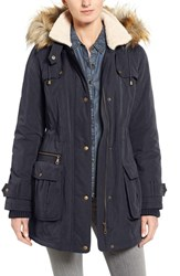 Halogenr Women's Halogen Hooded Anorak With Faux Fur Trim Navy